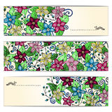Unieke die patroonkaart met kunstbloemen wordt geplaatst Royalty-vrije Stock Foto's