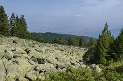Unieke grote het granietstenen van de steenrivier op rotsachtige rivier in de Vitosha Nationale Parkberg Royalty-vrije Stock Fotografie