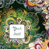 Unieke hand getrokken abstracte bloemenachtergrond met plaats voor uw tekst Stock Afbeelding