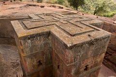 Unieke monolithische rots-gehouwen Kerk van St George, Unesco-Werelderfenis, Lalibela, Ethiopië Royalty-vrije Stock Afbeeldingen