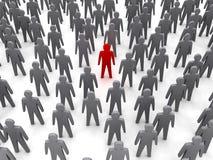 Unieke persoon in menigte. stock illustratie