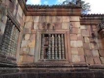 Unieke Vensters van de Binnensteenmuren van Prasat Muang Tam Ancient Temple Complex, Buriram-Provincie Stock Fotografie