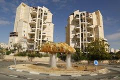 Unieke waterfontein in Bier Sheba, Israël Stock Afbeeldingen