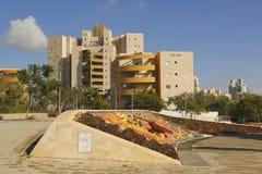 Unieke waterfontein in Bier Sheba, Israël Stock Foto