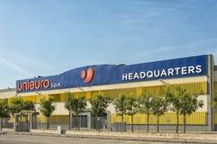 Unieuro-Hauptsitzspeicher in Forlì Stockbild