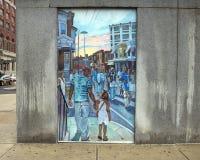 Unificación de las culturas de la vecindad en Philadelphia, del mural de José y de Gabriele Tiberino fotografía de archivo libre de regalías