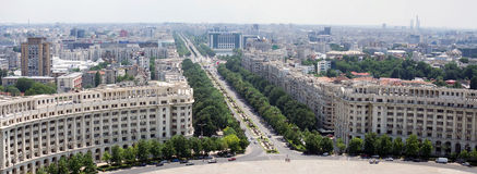 Unification Boulevard, Bucharest - aerial view royalty free stock images