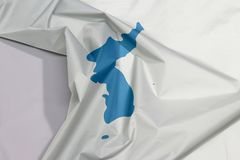 Unification Korea fabric flag crepe and crease with white space. stock photo