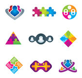 Unification of social community network and communication icons on white background  illustration Royalty Free Stock Photo