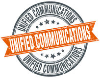 Unified communications round grunge stamp Royalty Free Stock Photography
