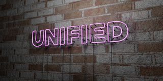 UNIFIED - Glowing Neon Sign on stonework wall - 3D rendered royalty free stock illustration Stock Photos