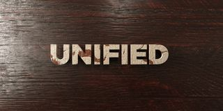 Unified - grungy wooden headline on Maple  - 3D rendered royalty free stock image Stock Photography