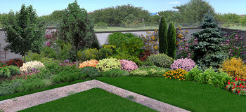 Unified look of backyard, 3d render Royalty Free Stock Photo
