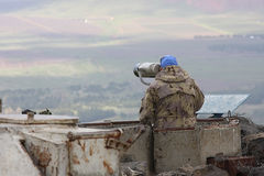 UNIFIL observers. On the border of Israel and Syria Stock Photos