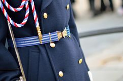 Uniform details of the royal guard officer in Prague Stock Photo