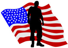 Uniform man two. Soldier in uniform with american flag Royalty Free Stock Photos