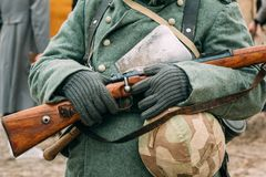 Uniforms and weapons of the Nazi soldiers. Reconstruction royalty free stock images