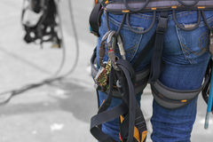 Uniform of rope access tool. Industrial - Uniform of rope access tool Stock Images