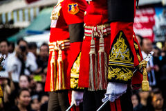 Uniform of Royal Guard Units in the Supreme Patriarch of Thailand's funeral ceremony Royalty Free Stock Photography