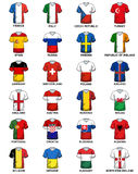 Uniform T-shirt European Countries Flags Euro 2016. T-shirt concerning flags of European countries participating to the final tournament of Euro 2016 football Stock Photos