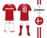 Uniforme d'équipe nationale du football du Danemark Image stock