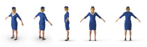 Uniforme de Dressed In Blue da comissária de bordo no branco ilustração 3D Fotografia de Stock