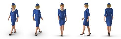 Uniforme de Dressed In Blue da comissária de bordo no branco ilustração 3D Fotografia de Stock Royalty Free