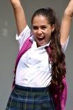 Uniforme de port de fille colombienne catholique réussie d'école image libre de droits