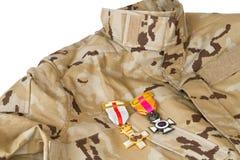 Uniforme con sus medallas Imagen de archivo libre de regalías