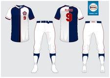 Uniforme di baseball, jersey di sport, sport della maglietta, short, modello del calzino Derisione della maglietta di baseball su illustrazione di stock