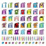 Uniforme do jóquei Projeto tradicional Revestimentos, sedas, luvas e chapéus Corrida de cavalos Cavalo Racing Ícones ajustados is Imagem de Stock