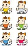 Uniforme multicolore di calcio del piccolo cane dei dreadlocks illustrazione di stock