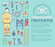 Uniforme plano del bombero y primer sistema e instrumentos del equipo de la ayuda En concepto plano del fondo del estilo Vector Fotos de archivo