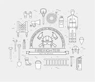 Uniforme plano del bombero y primer sistema e instrumentos del equipo de la ayuda En concepto plano del fondo del estilo Vector Foto de archivo