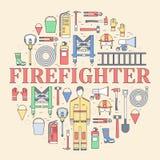 Uniforme plano del bombero y primer sistema e instrumentos del equipo de la ayuda En concepto plano del fondo del estilo Vector Imagen de archivo