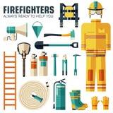 Uniforme plano del bombero y primer sistema e instrumentos del equipo de la ayuda En concepto plano del fondo del estilo Vector Foto de archivo libre de regalías