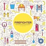 Uniforme plat de sapeur-pompier et premiers ensemble et instruments d'équipement d'aide Sur le concept de fond de style Illustrat illustration stock