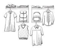 Uniforme scolaire Vêtements sur le cintre baluchon illustration de vecteur