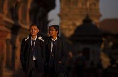 Uniforme scolastico del Nepal Fotografia Stock