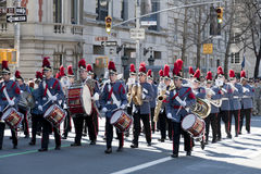 Uniformed Band in St. Pat's Day Parade. Valley Force Band marching in Saint Patrick's Day Parade - Circa 2010 Stock Images
