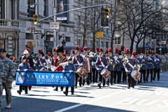 Uniformed Band in St. Pat's Day Parade. Valley Force Band marching in Saint Patrick's Day Parade - Circa 2010 Stock Photography