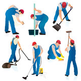 Uniformed cleaners ar work. Illustrated set of seven male commercial cleaners at work, white background vector illustration