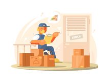 Uniformed deliveryman character Stock Photo