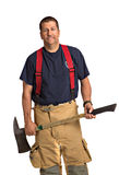 Uniformed Firefighter Holding Ax Standing Portrait Stock Image