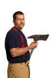 Uniformed Firefighter Holding Ax Standing Portrait Stock Photos