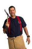 Uniformed Firefighter Holding Ax Standing Portrait Stock Images