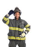 Uniformed Firefighter Standing Portrait Stock Photography