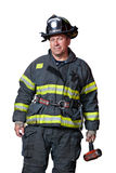 Uniformed Firefighter Standing Portrait Isolated Royalty Free Stock Photography