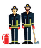 Uniformed Firefighters with Axe Stock Photography