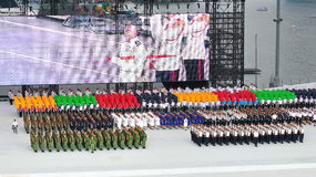 Uniformed groups marching at NDP 2011 Stock Photography